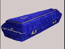 Гроб деревянный с тканевой отделкой бархат гофре синий