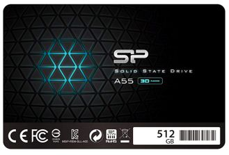 "SSD 512GB SSD Silicon Power 3D NAND A55 SLC Cache Performance Boost SATA III 2.5"" 7mm (0.28"") Internal Solid State Drive (SP512GBSS3A55S25) - 32500 тенге"