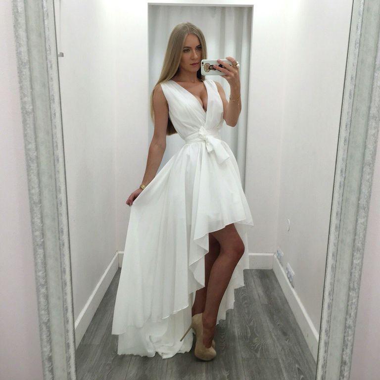 a4aef580eb5 Белое шифоновое платье миди купить в интернет-магазине