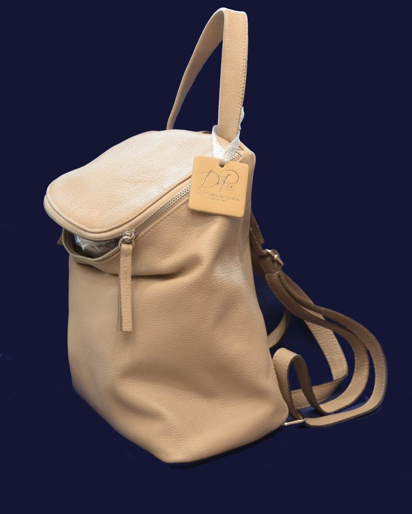 f4938a95873d бежевый кожаный итальянский рюкзак De Rua. Белый рюкзак итальянский  натуральная кожа De Rua