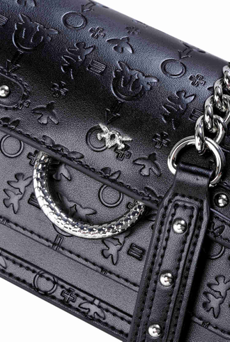 PINKO LOVE BAG MONOGRAM IN BLACK EMBOSSED
