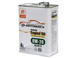 Масло моторное AUTOBACS Synthetic Engine Oil 0W-20 SN/GF-5 4л
