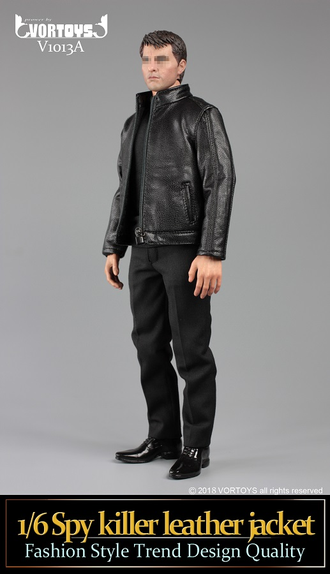 Комплект одежды (куртка, кобура и пистолет P226) 1/6 scale Spy killer leather jacket V1013 A VORTOYS
