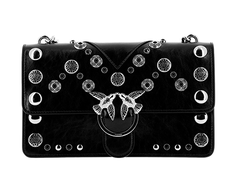 PINKO LOVE BAG SUEDE WITH ALL OVER STUDS AND CHAIN