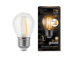 Gauss LED Filament Globe P60 Step Dimmable 7w 827/840 E27