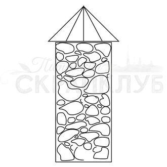 Штамп для скрапбукинга столбик с каменной кладкой и крышей