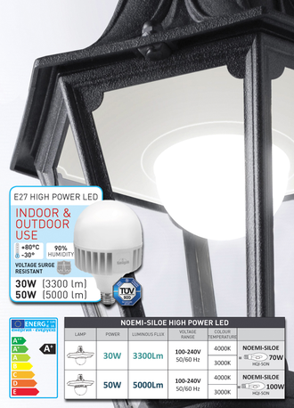 Светильник наземный Fumagalli LOT/NOEMI BLACK CLEAR E27 POWER LED 15W 3K