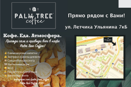 Реклама в автобусах кафе Palm tree coffee
