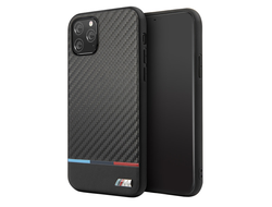 Чехол BMW M Collection Carbon Inspiration Hard Tricolor для iPhone 11 Pro, черный