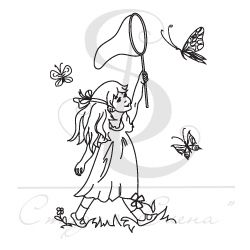Штамп девочка с сачком ловит бабочек