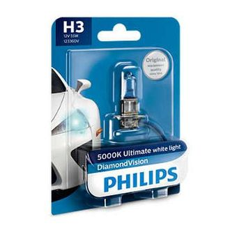 Автолампа Philips H3 12V 55W (PK22s) Diamond Vision (2 шт) 12336DVB1 (блистер)