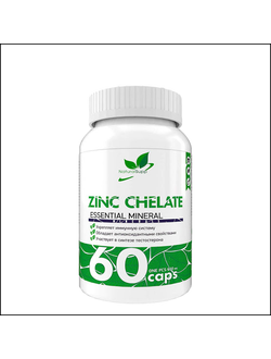 Бад Natural Supp zinc chelate 60 cap