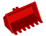 Vehicle, Digger Bucket 7 Teeth 3 x 6 with Locking 2 Finger Hinge, Red (30394 / 6210396)
