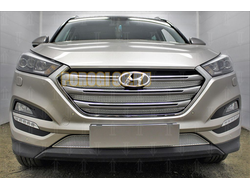 Защита радиатора Hyundai Tucson 2015-2018 (Travel,Prime,Dynamic, High) (4 части) chrome верх PREMIUM