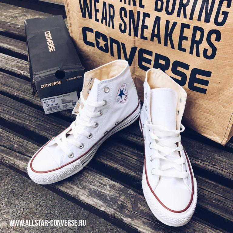 Белые высокие кеды Converse купить в Санкт-Петербурге  фото ... 09236b32369