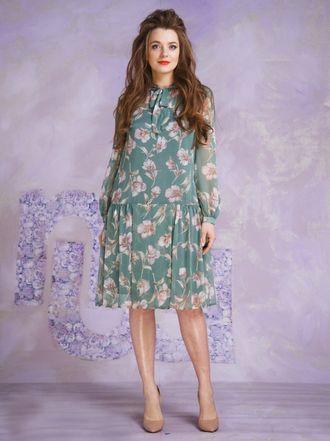 Купить платье темно-синее шифоновое в коричневый горох 50 размер в ... 6aa97e6736e