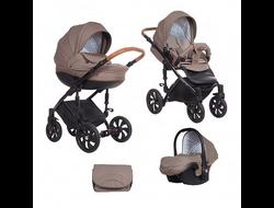 Универсальная коляска Tutis Zippy MIMI Style (3 в 1) Цвет Коричневый жаккард/Кожа коричневая