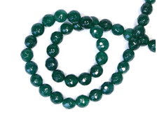 Бусина Кварц зеленый, шар граненый 8 мм (1 шт) №17480