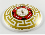 Dish 8 x 8 Inverted Radar with Red Machinery in Center and Gold Asian Geometric Pattern, White (3961pb12 / 6290498)