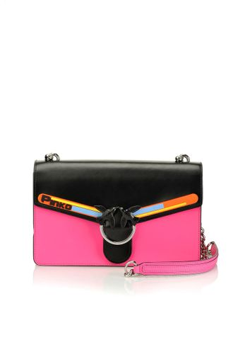 LOVE BAG SPORT IN HI SHINE LEATHER WITH RUBBER-COATED DETAILS