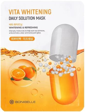 Тканевая осветляющая маска для лица Bonibelle Vita Whitening Daily Solution Mask с витамином С, 25 гр.