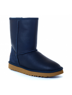 Kids Classic Short UGG Leather Metallic Navy