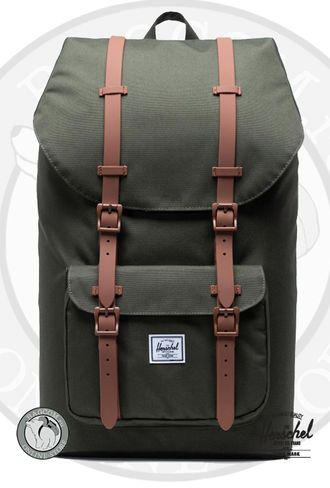 Herschel Little America Dark Olive/Saddle Brown