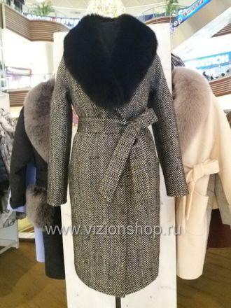 141aeb2b471 Пальто елочка женское с меховым воротником интернет магазин