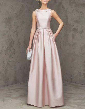 5034047facc Выпускное длинное вечернее атласное платье А-силуэта с воротником в  винтажном стиле