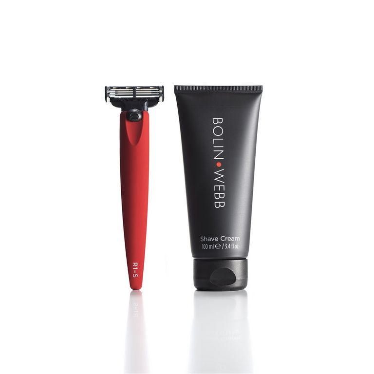 Подарочный набор Bolin Webb R1, бритва R1-S красная, Gillette Mach3, крем для бритья Bolin Webb