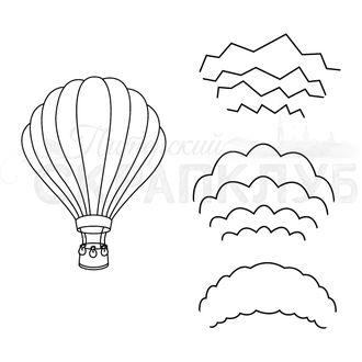 Штамп для скрапбукинга  воздушный шар с контурными рисунками для собственного дизайна
