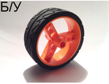 ! Б/У - Wheel 41 mm Znap Thin Tread with Black Tire 41 mm Directional Tread, Orange (32247c01) - Б/У