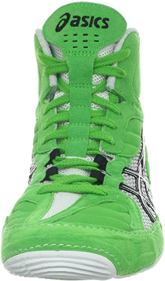 Борцовки Asics Cael V5.0 Electric Green/Black/White J202Y-7090 в зеленом цвете фото вид спереди