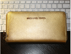 КОШЕЛЕК MICHAEL KORS Metallic Saffiano GOLD LONG НА МОЛНИИ