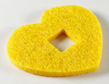 Felt Fabric 5 x 4 Heart Thick with Square Hole, Bright Light Orange (66828 / 6290395)