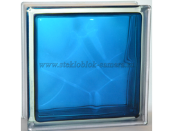 Стеклоблок Vitrablok окрашенный внутри волна синий