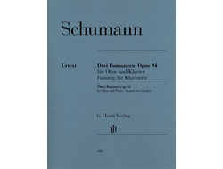 Robert Schumann Three Romances op. 94 for Oboe and Piano, Version for Clarinet