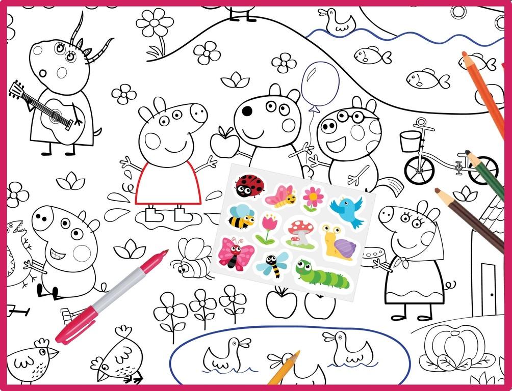 Плакат раскраска - Свинка Пеппа и её друзья