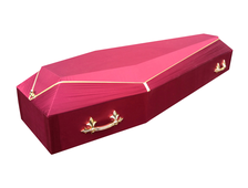 Гроб деревянный с тканевой отделкой Луч-6 бордо