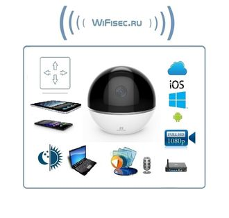 EZVIZ C6TС моторизированная WiFi/LAN видеоняня с DVR. Full HD 1080p