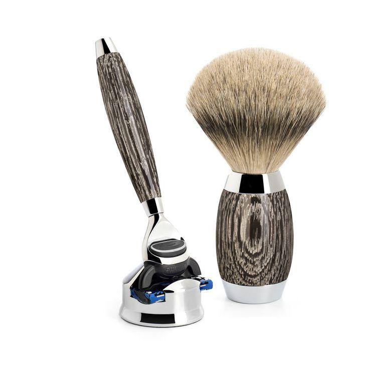 Бритвенный набор Muehle Edition, барсучий ворс высшей категории Silvertip, бритва Fusion, мореный дуб, стерлинговое серебро