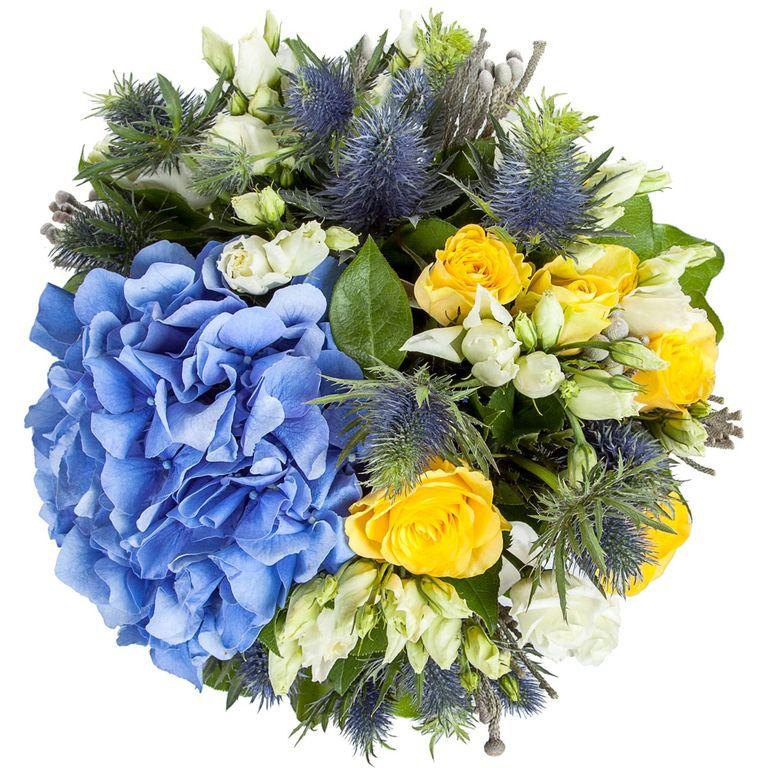 Цветы, синяя гортензия букет мужской