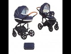 Универсальная коляска Tutis Mimi Style (2 в 1) Цвет Синий жаккард/кожа белая