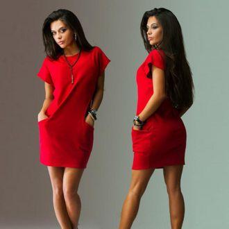 e9e8b9008ad Короткое красное платье с карманами купить Украина