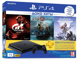 Игровая консоль Sony PlayStation 4 Slim (1Tb) Black + HZD + GOW + GTS + 3 мес