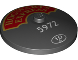 Dish 4 x 4 Inverted Radar with Solid Stud with HOGWARTS EXPRESS and Small 5972 and 10 in Circle Pattern 75955, Black (3960pb056 / 6237323)