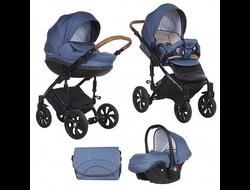 Универсальная коляска Tutis Zippy MIMI Style (3 в 1) Цвет Деним/синий букле/кожа коричневая