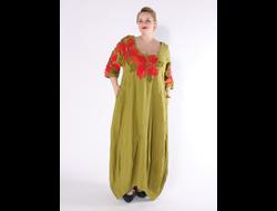 3c632f3152cc583 Платье из зеленого льна с вышивкой Наталья Гайдаржи АРТ - ПВЗ1003/НА ЗАКАЗ