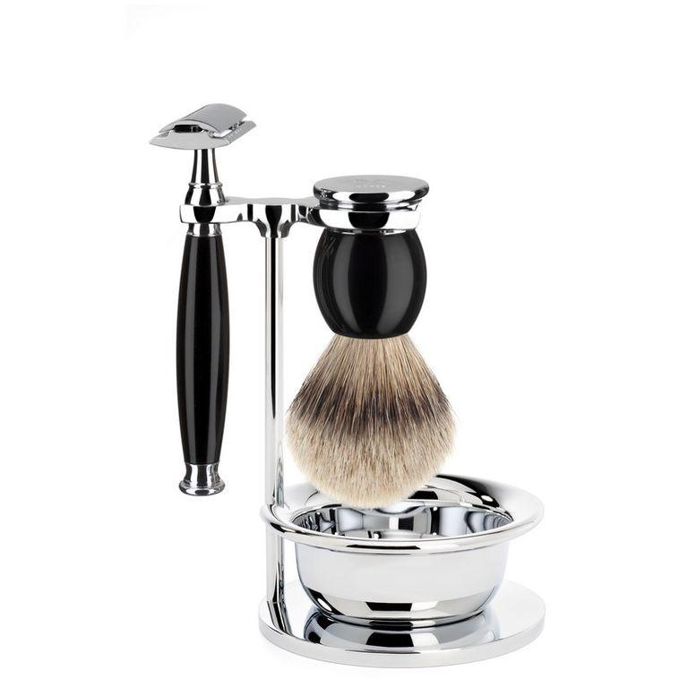 Бритвенный набор Muehle Sophist, черная смола, барсучий ворс высшей категории Silvertip, Т-образная бритва, чаша