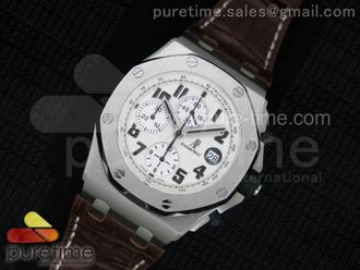 Royal Oak Offshore Safari White Dial on Brown Leather Strap